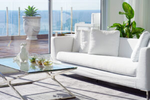Beach living room with large windows